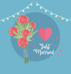 Just married celebration with bouquet and hearts vector