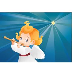 Kid angel musician flutis flautist flying on a vector