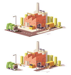 Low poly factory icon vector