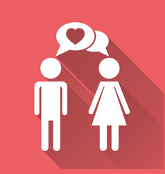 man and woman with heart icon with long shadow vector image