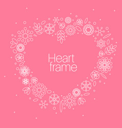 Minimalist floral background heart frame vector