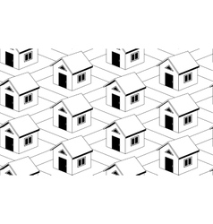 Monochrome seamless pattern with houses vector image