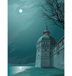 moonlight castle vector image vector image
