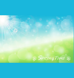 Nature spring bokeh background with sunbeam vector