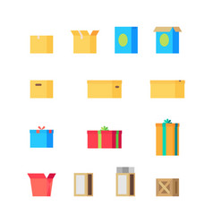 Open and close different colorful boxes set vector