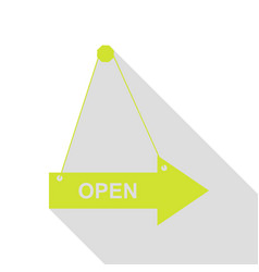 Open sign pear icon with flat style vector