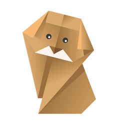 Paper origami colorful dog with black eyes vector