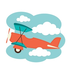Plane in the clouds vector