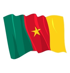 Political waving flag of cameroon vector