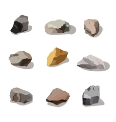 Rocks and stones mountain set rock and stone vector