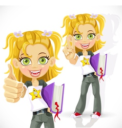 Schoolgirl with textbook shows everything is ok vector image vector image