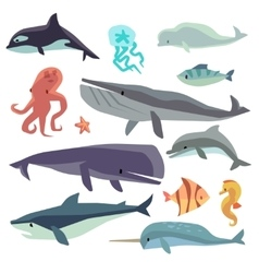 Sea marine fish and animals flat set vector image vector image