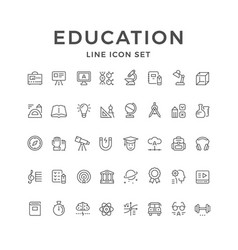 set line icons of education vector image