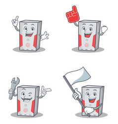 Set of computer character with foam finger flag vector