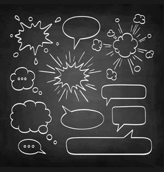 Set of speech bubbles on chalkboard vector
