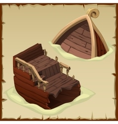 Ship is broken into two parts in the sand vector image vector image