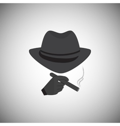 Silhouette of a man in a hat vector image vector image