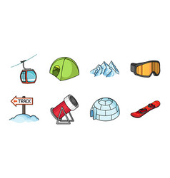 Ski resort and equipment icons in set collection vector