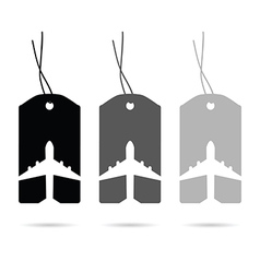 Tag travel with airplane set in white and black vector