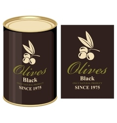 tin can with label of black olives vector image vector image