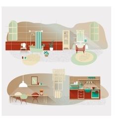 Vintage interior set kitchen and bathroom vector