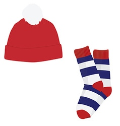 Winter clothes hat and socks vector image vector image