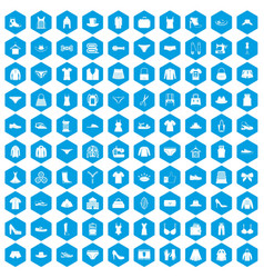 100 sewing icons set blue vector