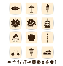 Brown cake icons set vector