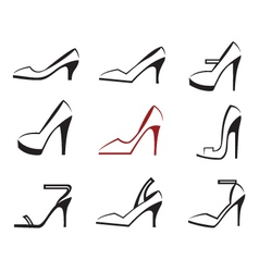 set of shoes vector image