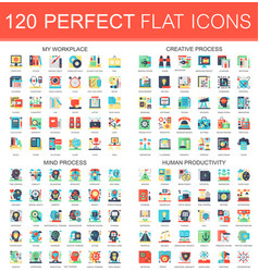 120 complex flat icons concept symbols of vector image vector image