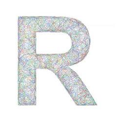 Colorful sketch font design - letter R vector image
