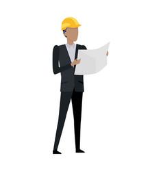 Man in black suit and yellow helmet blueprint vector