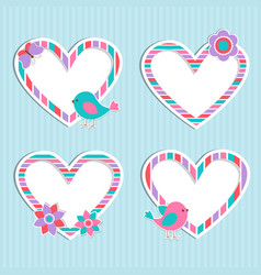 Set of cute frames-hearts with birdflower and vector
