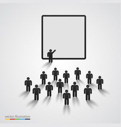 Silhouette of people on presentation vector