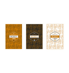set of seamless pattern and labels for honey vector image