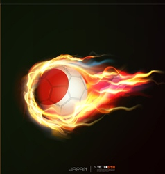 Japan flag with flying soccer ball on fire vector