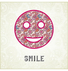 Pink ornamental pattern smile face silhouette vector image