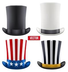 Set of tall gentleman hat cylinder vector