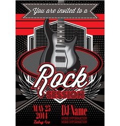 template for a rock concert with guitar vector image