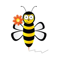 Cute bee with flower vector
