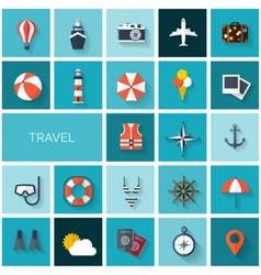 World travel concept background flat icons set vector
