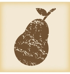 Grungy pear icon vector
