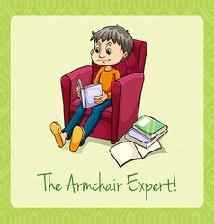 Idiom the armchair expert vector