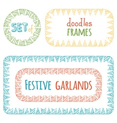 Set of bunting frames isolated on white background vector