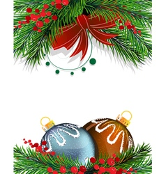 Christmas tree decorations with red bow vector
