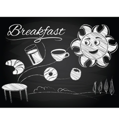 Sun enjoys a new morning and breakfast vector