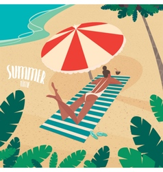Nice woman sunbathing by the sea vector