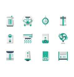 Climatic technics flat design icons set vector