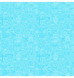 Thin Line Light Blue Construction Seamless Pattern vector image