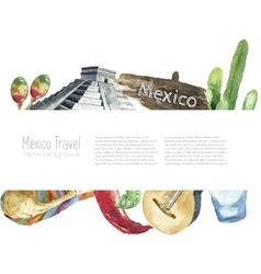 Travel concept mexico landmark watercolor icons vector